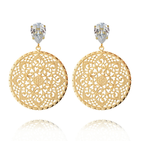 Caroline Svedbom Earrings Alexandra Crystal Gold