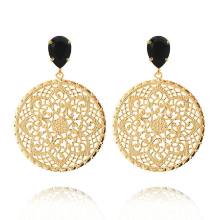 Caroline Svedbom Alexandra Earrings Jet Gold