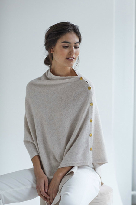 Davida Poncho with Gold Buttons Light Beige