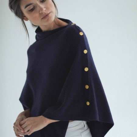 Davida Poncho with gold buttons navy