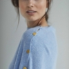 Davida Poncho with gold buttons dusty light blue