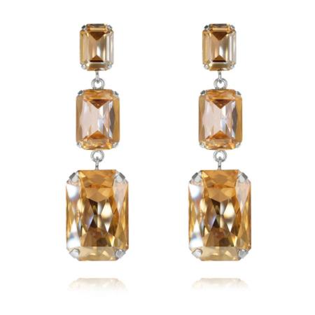 Caroline Svedbom Alexa Long Earrings Golden Shadow + Light Peach